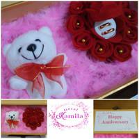 kado pacar gift box bunga isi kotak cincin mawar unik
