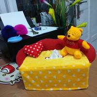 Tempat cover Wadah box tissue tisu tisue mobil boneka pooh kuning red