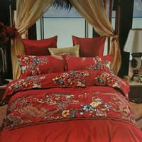 Bedcover set wedding motif phoenix dan naga 180x200x30