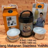 Thermos Makanan Stainless, lunch box Yoshikawa rantang 1800CC