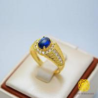 Cincim Batu Akik Asli Royal Blue Safir Emas 750 Swarovski Crystal 2018 - Emas