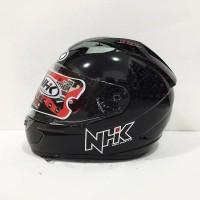 NHK GP1000 solid Helm Full Face Double Visor - Hitam Metalik