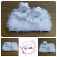 kotak cincin pengantin wedding bunga mawar putih