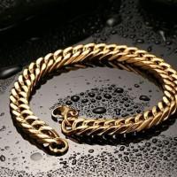 Gelang Pria Cowok Titanium Emas Gold Super Mewah Keren