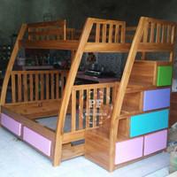 Dipan Tempat Tidur Tingkat Susun Kamar Anak Kayu Jati GRATIS ONGKIR