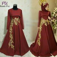 Baju pesta lebaran gaun maxi dress india gamis hijab abaya bordir