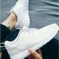 Sepatu Nike Rosherun One All Full White Putih List Putih Pria Wanita