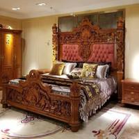 Tempat Tidur Ranjang Gebyok Ukir Jati Jepara, Dipan Ukir Free Ongkir