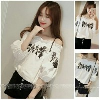 NEW [sabrina rose black RO] blouse wanita katun rayon putih Murah