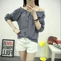 NEW [sabrina kotak Lina RO] blouse wanita katun hitam Berkualitas