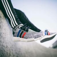 Sepatu Adidas NMD R1 PK TRICOLOR Grey Sneakers pria terbaru sports