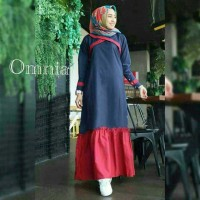 baju dress maxi Omnia kombinasi warna kerut bawah