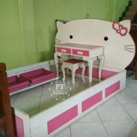 Kamar Set Anak Dipan Tolet Hello Kitty Bahan Kayu Jati, Gratis Ongkir