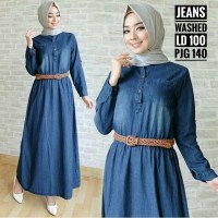baju maxi dress jeans washed blue kancing free belt