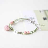 02F6FCr Strawberry Sweetheart Wild Ceramic Bracelet Green+Pink