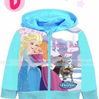 Pakaian anak perempuan / jaket hoodie kaos the frozen jw 60d