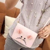 02860Cr Cartoon Mouse Shoulder Bag Pink