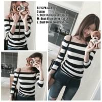 [ TERMURAH ] [sabrina strip RO] blouse wanita spandek hitam Limited
