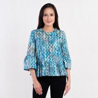Batik Pria Tampan - Blouse Tifeta Abs Aqua Zig Zag Stripe - Biru, M