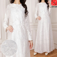 Baju Dress Gamis Muslim PREMIUM QUALITY Putih WHITE SERIES (KODE10750)