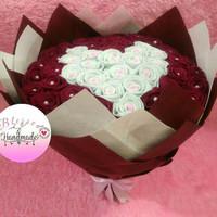Buket Lingkaran Flanel Korea Full Bunga Mawar/Kado Wisuda Ultah Anniv