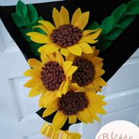 Buket Bunga Flanel Matahari Sunflower/Buket Wisuda/Kado Unik