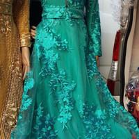 Gamis Dress Bahan Brukat Tile Resleting Depan