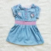 Dress Anak Soft Jeans Biru Muda Denim Hello Kitty