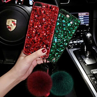 Casing import OPPO F7 F5 F1S A37 3D case Bling Diamond pompom