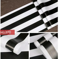 Stripe black & white H1370 45 cm x 10 mtr || Wallpaper dinding