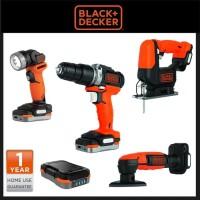 Cordless 10.8V Bor, Jigsaw, Sander, Senter Black Decker GoPak BDCK 123