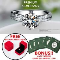 HIGH QUALITY Cincin Wanita Perak Silver 925 Lapis Emas Putih 18K S925 - Tujuh Koma Lima