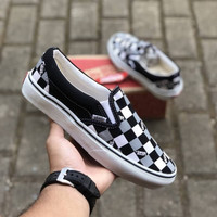 VANS SLIP ON VAULT CHECKERBOARD GREY BLACK WHITE PREMIUM ICC BNIB