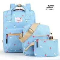 Termurah Berkualitas Anello Tulip Set 3In1 Backpack Slingbag Pouch