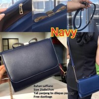 Termurah Tas Wanita Murah Import Selempang Branded Ck Bow Pita - Navy