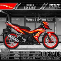 Decal Sticker Striping Honda sonic 150r red electrical