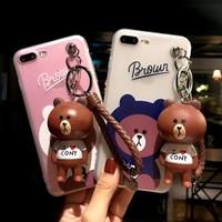 Casing import iphone 6 6S 7 8 plus X murah cartoon cony bear softcase