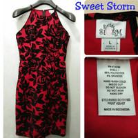 Sweet Storm Dress Black in Red Brand Murah