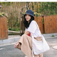 Korea solid color tote canvas bag buckled fashion (WYK35)