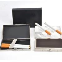 Cigaratte case kotak rokok bahan metal silver glossy kombinasi kulit