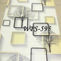 WPS595 cream 3d square STICKER WALPAPER DINDING WALLPAPER