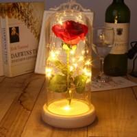 Beauty and the Beast Lampu LED Mawar dalam Gelas Gift Kado Valentine