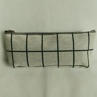 Tempat Pensil Kanvas / Tempat Pensil Kotak-kotak / Canvas Pencil Case