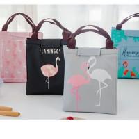 E2K1 lunch bag tas bekal cooler bag FLAMINGO bonus 2 jelly ice cooler