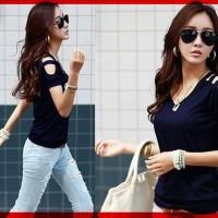 [V neck Karen Navy CL] blouse wanita spandex navy