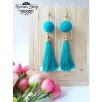 anting hijab (panjang 2) earing pompom tasel tassel rantai jilbab
