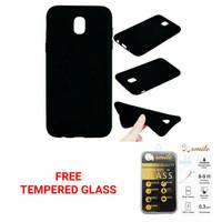 Case Samsung J1 Samsung J100 Black Matte Free Tempered Glass 2in1