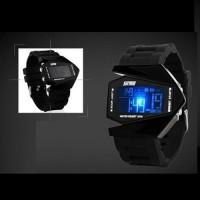 Jual Jam Tangan LED Pria Casio SKMEI Combat Putih Original Tahan Air - Hitam