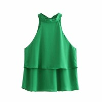 22307 Green Double Layer Halter Top