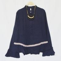 ORIGINAL LIMITED Ariel Casual Frill Top Navy baju wanita korea baju w
